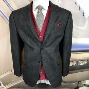 Blazer Ralph Lauren Gray 100% wool plaid check 42S